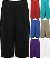 New Womens Plus Size Crepe Plain Stretch Wide Leg Culottes Ladies Shorts 12-30