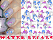 WATER DECALS DELFINI UNGHIE NAIL ART STICKERS TRANSFER DOLPHINS ADESIVI TATTOO