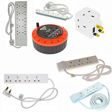 1 2 3 4 6 10 GANG WAY CABLE EXTENSION  LEADS CABLE SOCKETS UK MAINS PLUGS REELS