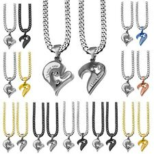 2 Collana Catena +2 x parti Ciondolo Pendente Cuore Heart I Love You Uomo Donna