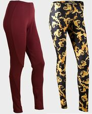 Mujer Jane Norman granate Panel, Pitillo Negro leggings estampados S 8-20