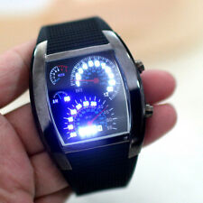 LED Watch Uhr Turbo Sports Car Meter Dial Design Blue Flash