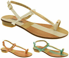 Womens BETSY Gladiator Sandals T-Bar Toe Ring Open Summer Shoes Size 3 5 6 7