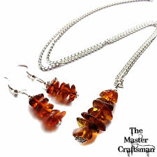 ☆GENUINE BALTIC AMBER NECKLACE EARRINGS & JEWELLERY SETS STERLING SILVER PLATED☆