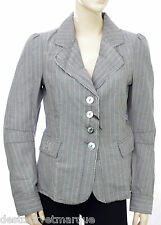 Veste blazer lin gris rayures blanches DDP Women Femme taille S
