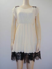 WOMEN LADIES CREAM WITH BLACK LACE ON HEM TEA DRESS SIZE S / M M / L 8 10 12 14