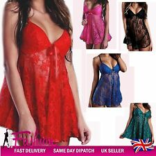 Sexy Babydoll Sleepwear Womens Lace Lingerie Lady Nightwear Dress Plus Size