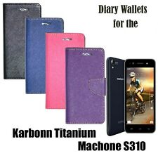 Diary Folio Flip Flap Case Cover For Karbonn Titanium Machone S310