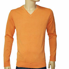 SCOTCH AND SODA Pull orange homme POWDER WASHED col V taille L