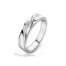 Unisex S925 Sterling Silver Streamline Super Shining CZ Ring/Can be Couples Ring