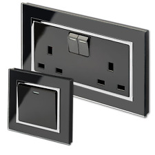 Retrotouch Crystal Black Screwless Sockets and Switches (Plain Glass)