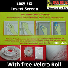 NEW INSECT SCREEN MESH- Fly Mosquito Bug Window Netting Velcro Tape Curtain DIY