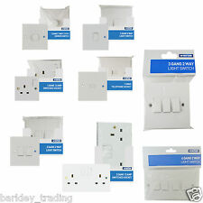 1 2 3 4 Gang 1,2 Way LIGHT SWITCHES & PLUG SWITCHED SOCKETS DIMMER WHITE NEW