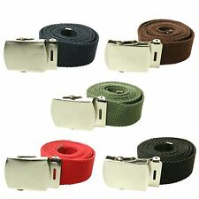 Unisex 40mm Fashion Canvas Webbing Military Curved Style Buckle Belt UK Seller