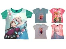 Girls Official Disney Frozen T-Shirts Kids Elsa Anna Summer Tops Size UK 1-8 Yrs