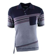 DOLCE & GABBANA Ribbed Polo Shirt with Cashmere Grey Blue 03634