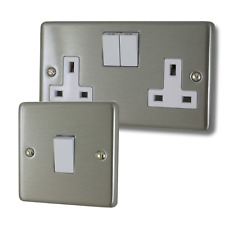Brushed Steel Sockets and Switches with Black Inserts