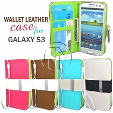 BOOK WALLET CARD SLOT FLIP LEATHER CASE COVER FOR SAMSUNG GALAXY S3 I9300