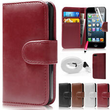 Luxury Genuine Wallet Leather Flip Case Cover For iPhone 5 5S + Screen Protector