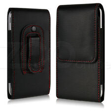 Black Slim PU Leather Belt Clip Pouch Cover Carry Case Holder For Apple iPhone