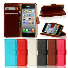 Genuine Real Leather Flip Wallet Slim Case Cover for iPhone 5C + Screen Guard