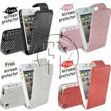 BLING DIAMOND FLIP LEATHER CASE COVER POUCH FOR APPLE IPHONE 4 4G 4S