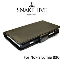 SNAKEHIVE® Genuine Real Leather Wallet Flip Case Cover for Nokia Lumia 830