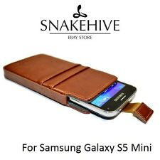 SNAKEHIVE® Genuine Real Leather Pouch Case Cover for Samsung Galaxy S5 Mini