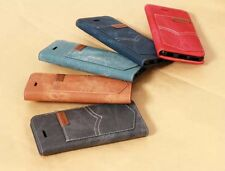 Luxury Cowboy Cloth Leather Flip Wallet Case Cover For Apple iPhone5 5S NZB