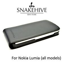 SNAKEHIVE® Genuine Real Leather Flip Case Cover for Nokia Lumia - All Models