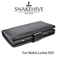 SNAKEHIVE® Genuine Real Leather Wallet Flip Case Cover for Nokia Lumia 920