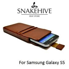 SNAKEHIVE® Genuine Real Leather Pouch Case Cover for Samsung Galaxy S5