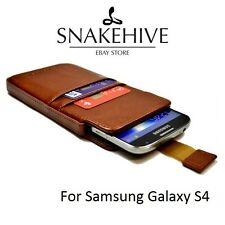SNAKEHIVE® Genuine Real Leather Pouch Case Cover for Samsung Galaxy S4