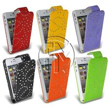 BLING DIAMOND FLIP LEATHER CASE COVER POUCH FOR APPLE IPHONE 4S 4G