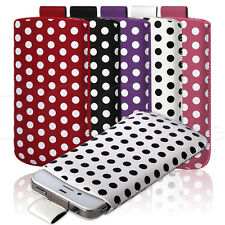 RETRO POLKA DOT SPOTS PULL-UP POUCH COVER CASE FOR SAMSUNG GALAXY ACE PLUS S7500