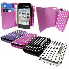 Polka Dot leather Wallet Case with Magnetic Detachable  Case Apple iPhone 4S 4g