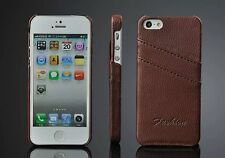 APPLE IPHONE 5 5S LUXURY GENUINE LEATHER CARD HOLDER BACK CASE COVER
