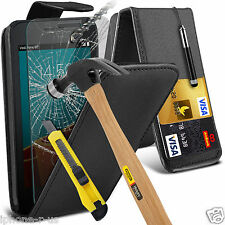 PU Leather Card Slot Flip Case Cover + Tempered Glass For Vodafone Smart First 6