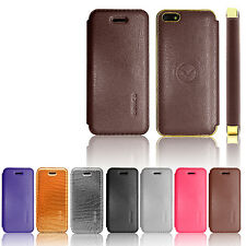 Executive Genuine Leather Flip Wallet Case Cover For iPhone 5S 5G 5 4S 4G 4