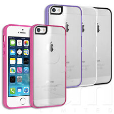CRYSTAL CLEAR HARD BACK COVER CASE WITH TOUGH GEL RIM FOR APPLE iPHONE 5s 5 4s 4