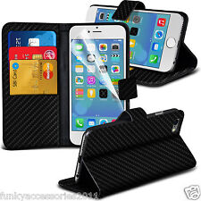 Carbon Fiber Wallet Stand Book Flip Folio✔Leather Phone Case Cover Pouch Holder