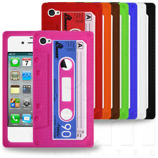 STYLISH CASSETTE TAPE DESIGN RUBBER SILICONE CASE COVER FOR APPLE iPHONE 4 4S