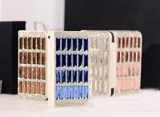 New Bling Diamonds PU Leather Flip Wallet Slot Case Cover For iPhone4 4S 4CBS2