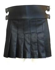 Mens Leather Kilt Gladiator style  in Black BKLN003
