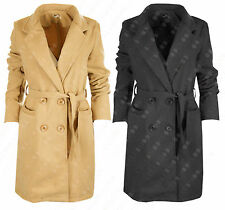 G54 WOMENS LADIES PARKA BELTED LONG TRENCH WOOL WINTER COAT JACKET PLUS SIZE