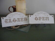 Open / Closed Shop Sign Wooden Shabby Double Sided Door Hanging Chic Western