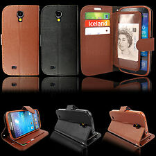 Real Genuine Leather Flip Book Wallet Slim Case Cover For New Samsung Galaxy S4