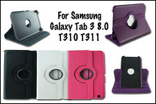 """NEW 360° ROTATING CASE FOR SAMSUNG GALAXY TAB 3. 8"""" TABLET PU LEATHER COVER T310"""