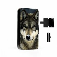 Funny Wolf Snow Printed Faux Leather Flip Phone Case Cover Wallet