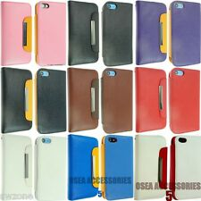 FOR APPLE IPHONE 5 5S 5G  LUXURY LEATHER CASE COVER WALLET FLIP POUCH